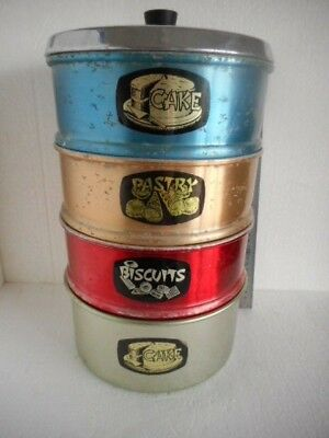 Retro Raco Anodised Cake, Biscuits, Pastry Container + Lid. Stackable Anodized
