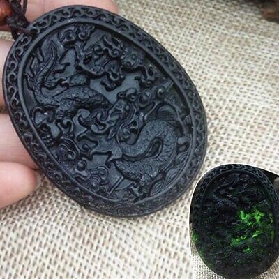 China Natural Black Green Jade Hand Carved Jade Pendant Dragon Lucky Amulet US