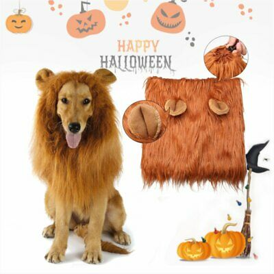 Pet Costume Lion Mane Wig w/ Ears for Large Dog Halloween Clothe Dress up TO