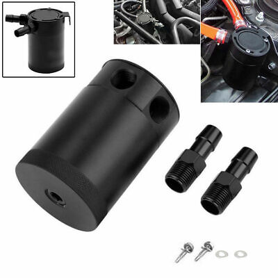 2019 Universal Internally Baffled Oil Catch Can Tank 2 Port Separator Black Uk