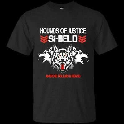 96be6bb4 THE SHIELD WWE T-Shirt 2019 HOT Hounds of Justice MEN-WOMEN Black S ...