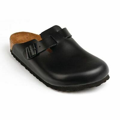 Birkenstock Boston Chefs Clog in Black - Leather Uppers & Cork Foot Bed - 45