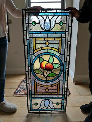 Stained Glass Leaded Antique Victorian Glass Window Panels with Fruit Detailing