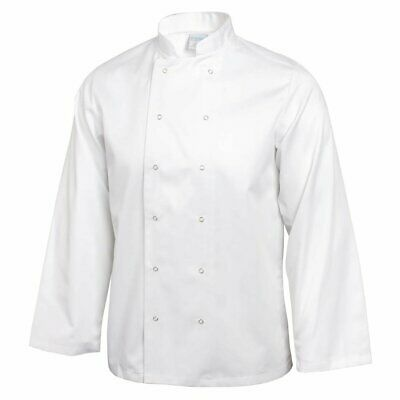Whites Vegas Unisex Chefs Jacket with Long Sleeve in White - Polycotton - XS