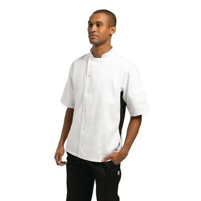 Whites Nevada Unisex Chefs Jacket in Black and White with Short Sleeve - M