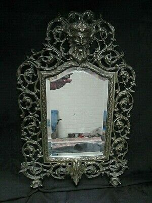 Stunning Antique French Rococo Brass Wall Mirror. 19thC. Bacchus Wine God Mask