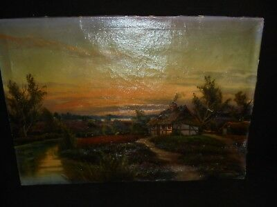 Painting River Scene with Cottage Oil on Canvas Signed Without Frame