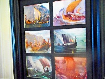 VIKINGS LONG SHIPS (6  MINIATURE Pictures in one Frame)