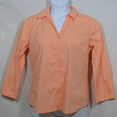 0a439cfd Women's Size L by Dressbarn Peach Long Sleeves Fold-up Cuffs Button Down  Shirt