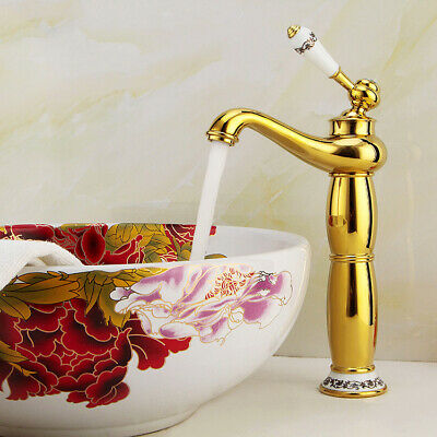 Golden Hot and Cold Water Faucet Copper Single Handle Single Hole Antique Faucet