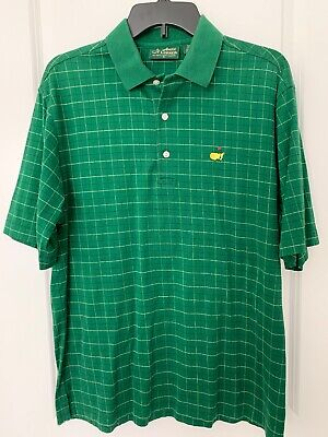 f89746edc Mens MASTERS Amen Corner AUGUSTA NATIONAL Green Plaid Polo Golf Shirt MEDIUM