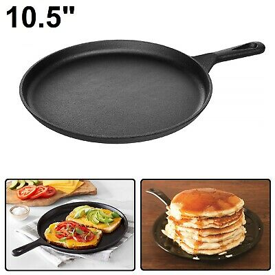 "CAST IRON GRIDDLE 10.5"" Pre Seasoned Kitchen Cookware Pizza Eggs Pancakes Pan"