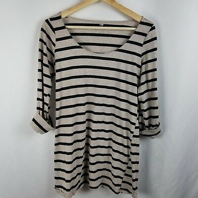 Two Hearts Womens Maternity Shirt Size S Beige Black Striped
