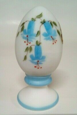 Fenton Glass Vintage White Satin Egg On A Pedestal Hand Painted Blue Flowers