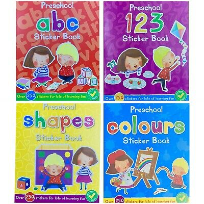 Pre School Letters Numbers Colours shapes Sticker Activity Books kids Age 3+