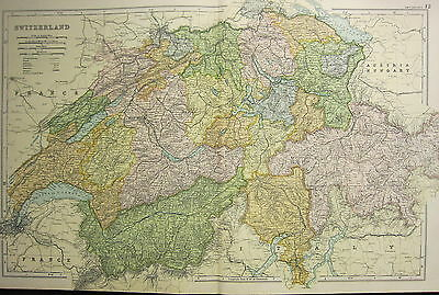 1905 Antique Map ~ Switzerland ~ Alps Zurich Geneva Grison Bern Unterwalden