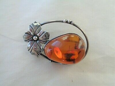 Vintage Baltic Amber Nugget Sterling Silver 925 Flower Pin