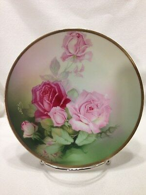 Thomas Serves Hand Painted Bavaria Artist Signed Pink Roses/Collector Plate