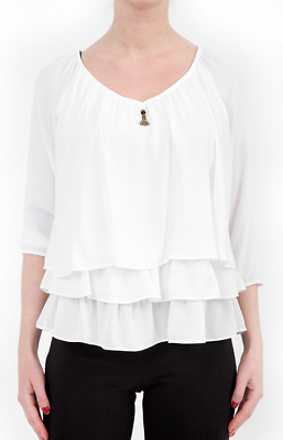 Joseph Ribkoff Off White Button Up Ruffle Front Long Sleeve Blouse 183265 NEW