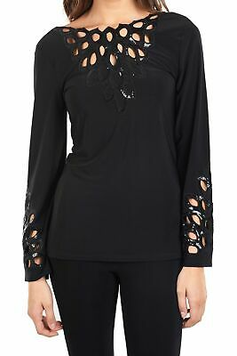 Joseph Ribkoff Womens size 12 Black Long Sleeve Sequin Cut out Blouse NEW