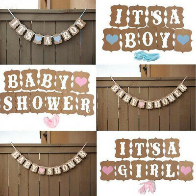 Baby Shower Bunting Banner Boy Girl Party Garland Photo Props Decor Sign T1R8H