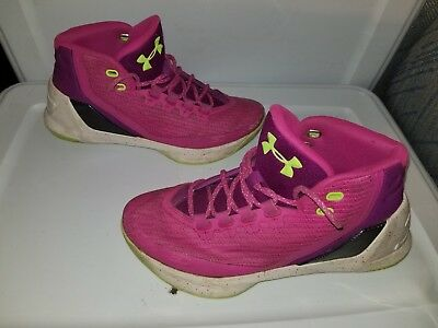super popular d2e9f 7c28e Under Armour Steph Curry 3 Boys Basketball Shoes 7y Pink Neon Green Youth