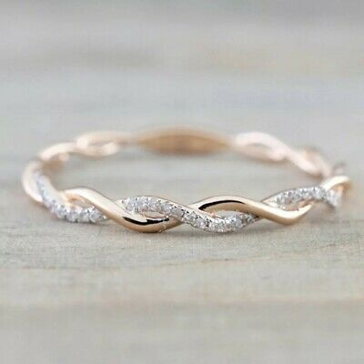 Rose Gold And Silver Twisted Diamond Ring In Small Meduim And Large