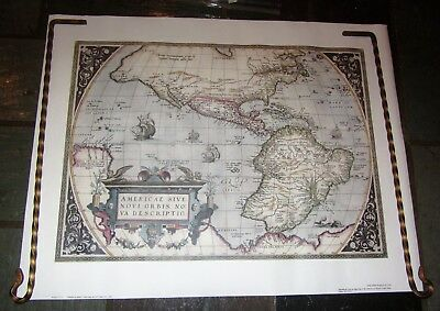 Map Of The World In 1570 By Willen Janszoon Blaeu; Vtg Repro Historic Urban Plan