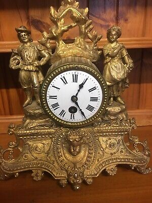 Antique French Japy Freres & Vie 19th c Gilt Mantle Clock