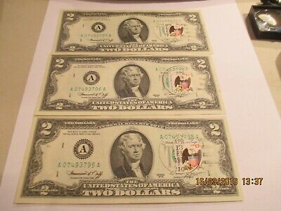 3 1976 2.00 FRN With First Day Cancel in Sequential Order