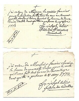 """2 Orig. 18thc FRENCH Ms. """"DOCUMENTS"""" dated 1772/1773"""