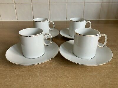 Thomas Medaillon Narrow / Thin Gold Band 4 x Espresso Cups And Saucers
