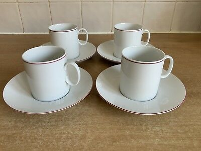 Thomas China Scandic Ruby Red Edge 4 x Tea/Coffee Cups and Saucers