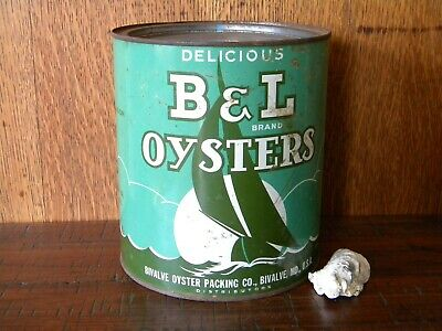 Vintage Gallon B & L Brand Oyster Tin Can ~ Bivalve, Md ~ Md 293