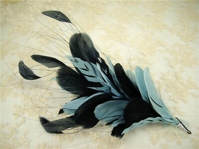 Goose Twisted Mount Peacock Feather Stripped Coque Millinery Hat Fascinator Trim