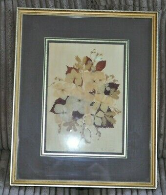 Framed Vintage Mary Counsel Pressed Flower Picture