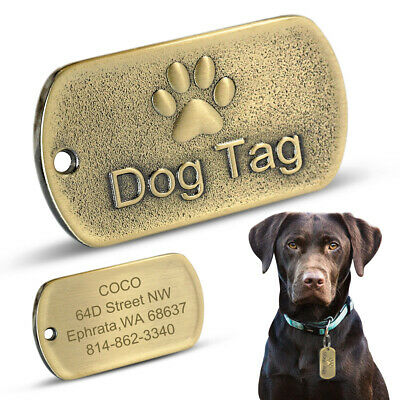 Military Personalized Dog ID Tags Engraved Name Cute Paw Print Stainless Steel