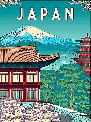 GEOGRAPHY MAP ILLUSTRATED ANTIQUE JAPANESE NIKKO JAPAN POSTER ART PRINT BB4332A