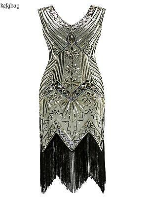 Women 1920's Vintage Style Print Sequin Sleeveless V Neck Flapper Party KFBY