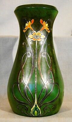 Arts & Crafts Heintz Metal Art Shop Sterling on Verde Bronze Vase 1912-1930 8""