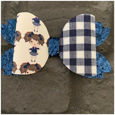 "Handmade 3.5"" Navy Blue School Girl,  hair bow on a clip- perfect for school"