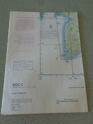 1968 Large Map ONC SOC-1 Cambodia China Laos Thailand Vietnam Chart NW