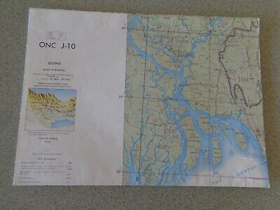 1968 Large Map ONC J-10 Burma China India Laos Pakistan Thailand Vietnam chart