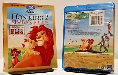 Disney The Lion King 2 Simba's Pride Bluray + DVD + DIGITAL New with SLIPCOVER