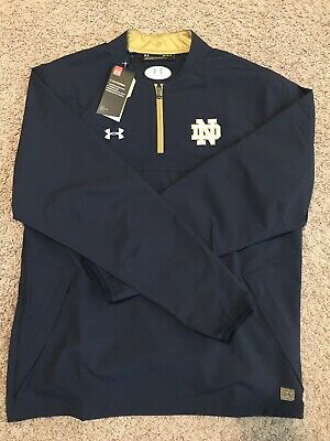 7dce14f93ad93f Notre Dame Football Under Armour Team Issued New 1 4 Zip Pullover Large  Blue ND