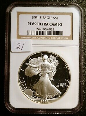 1991 Silver $1 ASE American Eagle NGC PF69 ULTRA CAMEO $55 VALUE (#21)