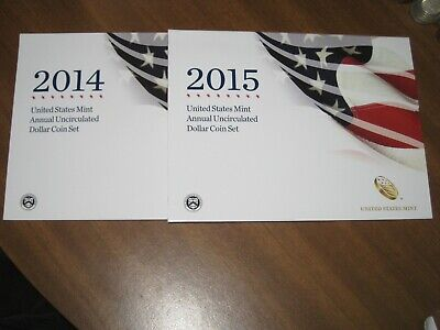 2014 & 2015 United States Mint Annual Uncirculated Dollar Coin Set Silver Eagle