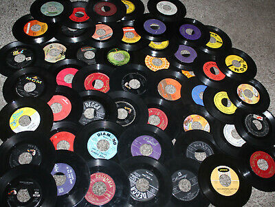 Lot of 50 Vintage 45 RPM Records For Decorating Crafts Hobby Play Pop Random