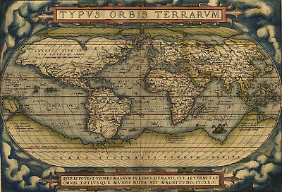 Vintage  Poster Print canvas map of world ortelius  old A1 A2 A3