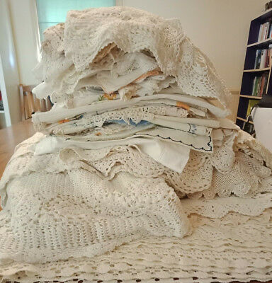 Bulk Lot Of 200+ Vintage Doilies and embroidered linens. See all photos MASSIVE!